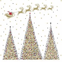 """5"""" Square Gold and Black Trees With Santa Sled Beverage Napkin"""