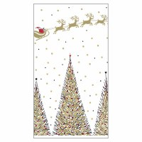 """8"""" x 5"""" Gold and Black Trees With Santa Sled Guest Towel"""