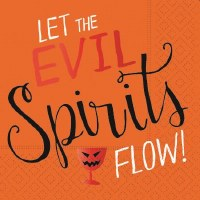 "5"" Square Let Evil Spirits Flow Beverage Napkin"