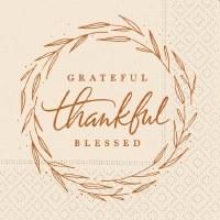 "5"" Square Grateful Thankful Beverage Napkin"