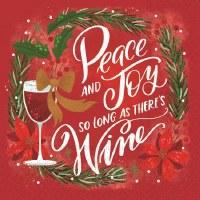 "5"" Square Peace Joy Wine Beverage Napkin"