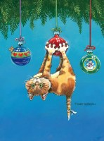 """5"""" x 7"""" Box of 18 What Now Cat Christmas Card"""