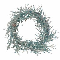 """17"""" Round Blue Pearl Shell Wreath"""