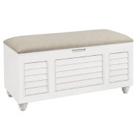 "50"" White Shutter Storage Bench"