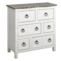 """32"""" Boardwalk Top With White Base 6 Drawer Cabinet"""