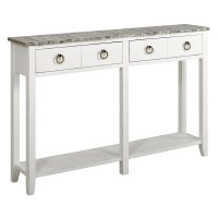 "54"" Boardwalk Top With White Base 2 Drawer Shelf Console"