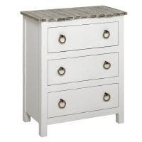"""27"""" Boardwalk Top With White Base 3 Drawer Cabinet"""