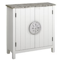 """32"""" Boardwalk Top With White Base 2 Door Compass Knob Cabinet"""
