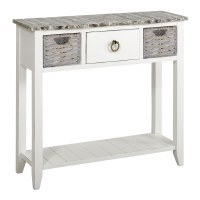 "36"" Boardwalk Top and White Base 1 Drawer 2 Basket Console"