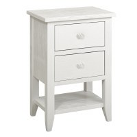 "18"" White 2 Drawer Shell Knob Cabinet"