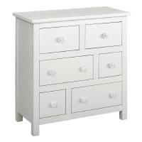 "32"" White 6 Drawer Shell Knob Cabinet"