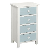 """31"""" White and Glacier Blue 4 Drawer Shell Knob Cabinet"""
