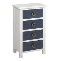 """19"""" White and Navy 4 Drawer Shell Knob Cabinet"""