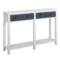 "54"" White and Navy 2 Drawer Console"