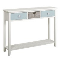 "48"" White and Glacier Blue 2 Drawer 1 Basket Console"