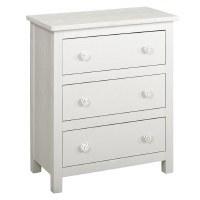 "27"" White 3 Drawer Shell Knob Cabinet"