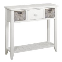 "36"" White 1 Drawer With Shell Knob and 2 Basket Console"