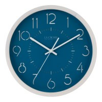 "13"" Round White With Blue Face Wall Clock"