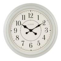 "22"" Round Distressed White Finish Wall Clock"
