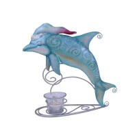 "11"" Dolphin With Hat Tea Light Holder"
