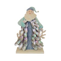 "16"" Blue and Green Pastel Santa With Shells"