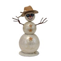 "9"" Capiz Snowman With Brown Hat and Sunglasses"