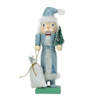 "9"" Blue Wooden Santa Nutcracker"