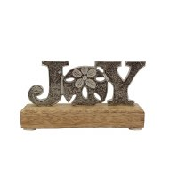 "6"" Silver "" JOY"" With Wooden Base"