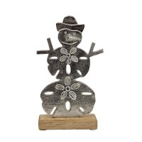 "10"" Silver Sand Dollar Snowman With Wooden Base"