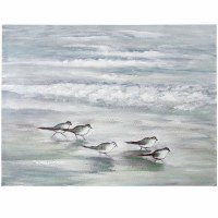 """36"""" x 48"""" Gray and Green Sandpiper Stretched Canvas"""