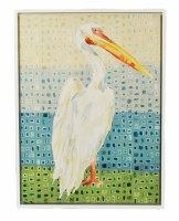 """32"""" x 24"""" White Pelican Facing Right Framed Canvas"""