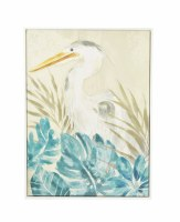 """48"""" x 36"""" White Heron Gray and Blue Canvas Framed"""