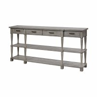 "72"" Gray 4 Drawer and 2 Shelf Console"