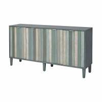 "68"" Gray and Green Stripped 4 Door Credenza"