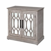 """32"""" White Washed 2 Mirrored Door Cabinet"""
