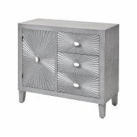 "36"" Gray 3 Drawer 1 Door Sunburst Cabinet"