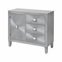 "36"" Gray 3 Drawer 1 Door Sunburst Cabinet"
