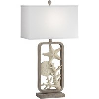 """28"""" White Shells In Gray Rectangle Table Lamp"""