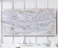 """27"""" x 55"""" White and Gray School Of Fish Canvas"""