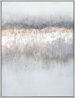 """50"""" x 38"""" Silver and Gold Fire Rain Framed Canvas"""