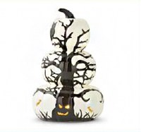 "12"" LED Triple Pumpkin With Tree Design"