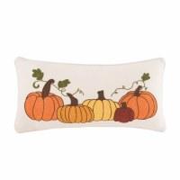 """12"""" x 24"""" Embroidered Pumpkin Pillow"""