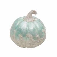 "7.5"" Aqua Pumpkin Capiz With White Wave"