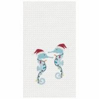 "18"" x 27"" Christmas Seahorse Waffle Weave Kitchen Towel"