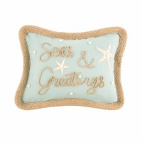 """12"""" x 16"""" Natural and Green Seas and Greetings Pillow"""
