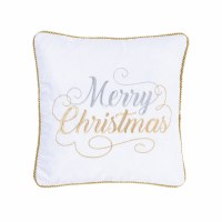 "18"" Square Silver and Gold Merry Christmas Pillow"