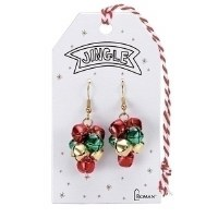 """1.5"""" Red, Green and Gold Jingle Bell Earrings"""