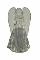 """4"""" Clear LED Angel Holding Heart"""
