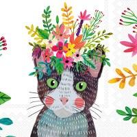 "5"" Square Floral Cat Beverage Napkin"