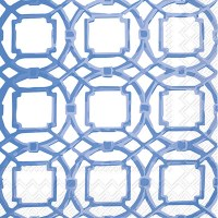 "5"" Square Blue and White Courtyard Beverage Napkin"